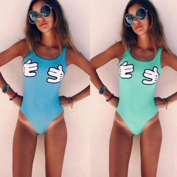 Hirigin 2018 New Style Sexy Women Swimwear One-Piece Swimsuit One Piece Paded Bikinis Monokini Beachwear Funny Girl Bathing Suit