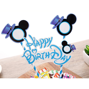 1set/lot Kids Boys Favors Mickey Theme Happy Birthday Party Cupcake Toppers Baby Shower Events Party Decoration Cake Flags