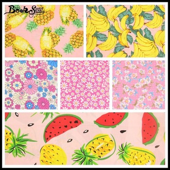 Booksew Cotton Poplin Patchwork Clothing Sewing Home Decoration Crafts Flower And Fruit Printed Precut Fabric Bundle 6 Pieces